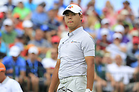 Si Woo Kim (KOR) on the 1st tee to start his match during Sunday's Final Round of the 117th U.S. Open Championship 2017 held at Erin Hills, Erin, Wisconsin, USA. 18th June 2017.<br /> Picture: Eoin Clarke | Golffile<br /> <br /> <br /> All photos usage must carry mandatory copyright credit (&copy; Golffile | Eoin Clarke)