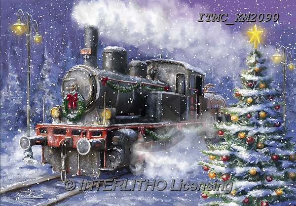 Marcello, CHRISTMAS LANDSCAPES, WEIHNACHTEN WINTERLANDSCHAFTEN, NAVIDAD PAISAJES DE INVIERNO, paintings+++++,ITMCXM2090,#XL# ,locomotive
