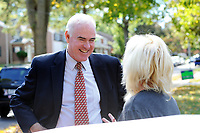 10/16/10 9:29:33 AM -- Springfield, PA<br />  -- Republican Congressional candidate Pat Meehan (L) speaks with voter Marguerite Kelly, 58 at her home October 16, 2010 in Springfield, Pennsylvania. Meehan faces incumbent Democrat Bryan Lentz in the Nov. 2 general election. --  Photo by William Thomas Cain/Cain Images