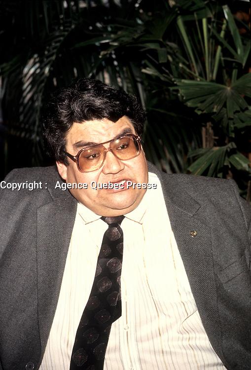 le Chef Billy Diamond<br /> ,le 23 mars 1992<br /> <br /> PHOTO D'ARCHIVE : Agence Quebec Presse
