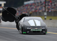 Oct 1, 2016; Mohnton, PA, USA; NHRA pro stock driver Val Smeland during qualifying for the Dodge Nationals at Maple Grove Raceway. Mandatory Credit: Mark J. Rebilas-USA TODAY Sports
