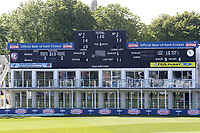The scoreboard with the overnight scores ahead of the start of play during Kent CCC vs Yorkshire CCC, Specsavers County Championship Division 1 Cricket at the St Lawrence Ground on 15th May 2019