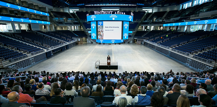 A. Gabriel Esteban, Ph.D., president of DePaul University, presents his first State of the University address to faculty and staff members on Friday, Sept. 15, 2017, at the Wintrust Arena. The president outlined the current climate of higher education, student enrollment and the strategic planning process. (DePaul University/Jamie Moncrief)