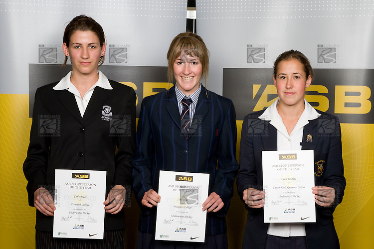 Girls Underwater Hockey finalists Carly Black, Ana Holt & Leah Findlay. ASB College Sport Young Sportperson of the Year Awards 2008 held at Eden Park, Auckland, on Thursday November 13th, 2008.