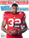 Inside Wisconsin Sports September 2009 cover featuring Wisconsin Badgers running back John Clay (32). (Photo by David Stluka)