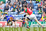 Johnny Buckley Kerry in action against Kevin McLoughlin Mayo in the National Football League in Austin Stack Park on Sunday..