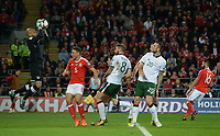 Ireland's Darren Randolph catches the high ball while under pressure from Wales'  James Chester<br /> <br /> Photographer Ian Cook/CameraSport<br /> <br /> FIFA World Cup Qualifying - European Region - Group D - Wales v Republic of Ireland - Monday 9th October 2017 - Cardiff City Stadium - Cardiff<br /> <br /> World Copyright &copy; 2017 CameraSport. All rights reserved. 43 Linden Ave. Countesthorpe. Leicester. England. LE8 5PG - Tel: +44 (0) 116 277 4147 - admin@camerasport.com - www.camerasport.com
