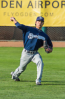 Helena Brewers starting pitcher Joshua Torres (38) warms up in the outfield before the game against the Ogden Raptors in Pioneer League action at Lindquist Field on August 17, 2015 in Ogden, Utah. Ogden defeated Helena 7-2.  (Stephen Smith/Four Seam Images)