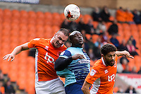 Adebayo Akinfenwa of Wycombe Wanderers goes up for a header during the Sky Bet League 2 match between Blackpool and Wycombe Wanderers at Bloomfield Road, Blackpool, England on 20 August 2016. Photo by James Williamson / PRiME Media Images.
