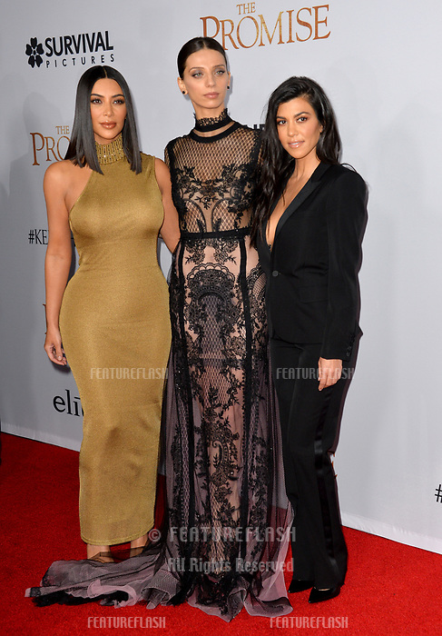 Kim Kardashian, Angela Sarafyan &amp; Kourtney Kardashian at the premiere for &quot;The Promise&quot; at the TCL Chinese Theatre, Hollywood. Los Angeles, USA 12 April  2017<br /> Picture: Paul Smith/Featureflash/SilverHub 0208 004 5359 sales@silverhubmedia.com