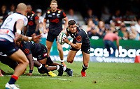 DURBAN, SOUTH AFRICA - MARCH 23: Louis Schreuder of the Cell C Sharks during the Super Rugby match between Cell C Sharks and Rebels at Jonsson Kings Park on March 23, 2019 in Durban, South Africa. Photo: Steve Haag / stevehaagsports.com