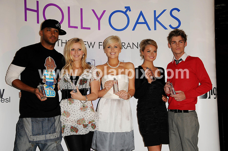 **ALL ROUND PICTURES FROM SOLARPIX.COM**.**WORLDWIDE SYNDICATION RIGHTS**.The teen TV soap Hollyoaks launches it's own fragrance at Eve Club, London, UK. 30th September 2008..This pic: Ricky Whittle, Carley Stevenson, Gemma Merna, Emma Rigby and Kieron Richardson..JOB REF:  7495 MSR    DATE: 30_09_2008.**MUST CREDIT SOLARPIX.COM OR DOUBLE FEE WILL BE CHARGED* *UNDER NO CIRCUMSTANCES IS THIS IMAGE TO BE REPRODUCED FOR ANY ONLINE EDITION WITHOUT PRIOR PERMISSION*