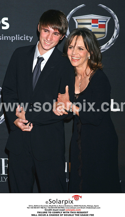 ALL ROUND PICTURES BY SOLARPIX.COM.**MUST CREDIT SOLARPIX.COM OR DOUBLE FEE WILL BE CHARGED**.**NO SYNDICATION IN FRANCE**.The PREMIERE WOMEN IN HOLLYWOOD party at the Beverly Hills Hotel in Beverly Hills in Los Angeles in California on 20_09_06 in the USA..This pic:Sally Field and son..DATE:21_09_06- JOB REF:2826-GLS .