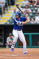 Oklahoma City Dodgers third baseman Buck Britton (4) at bat during the Pacific Coast League baseball game against the Nashville Sounds on June 12, 2015 at Chickasaw Bricktown Ballpark in Oklahoma City, Oklahoma. The Dodgers defeated the Sounds 11-7. (Andrew Woolley/Four Seam Images)