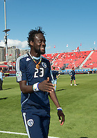 August 18, 2012: Sporting KC forward Kei Kamara #23 in action during the warm-up in an MLS game between Toronto FC and Sporting Kansas City at BMO Field in Toronto, Ontario Canada..Sporting Kansas City won 1-0.