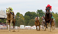 Uno Mas Modelo (no. 3) wins Race 7, Sep. 1, 2018 at the Saratoga Race Course, Saratoga Springs, NY.  Ridden by Javier Castellano and trained by Anthony Quartarolo, Uno Mas Modelo  finished 1/2 length in front of Phi Beta Express  (no. 5).  (Bruce Dudek/Eclipse Sportswire)