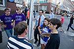 Democratic candidate for governor Matt Dunne (center wearing red tie) and Southern Vermont campaign coordinator Erin Hansen (wearing Matt Dunne T shirt),<br /> speak with young voters in Brattleboro Vermont in this recent image dated 08-06-10.