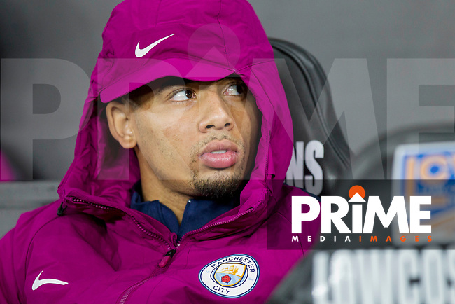 Gabriel Jesus of Manchester City on the bench ahead of the EPL - Premier League match between Swansea City and Manchester City at the Liberty Stadium, Swansea, Wales on 13 December 2017. Photo by Mark  Hawkins / PRiME Media Images.