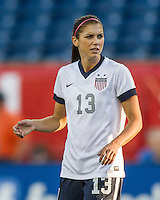 USWNT forward Alex Morgan (13).  In an international friendly , the US Women's National Team (USWNT) (white/blue) beat Korea Republic (South Korea)  (red/blue) 4-1, at Gillette's Stadium on June 15, 2013.