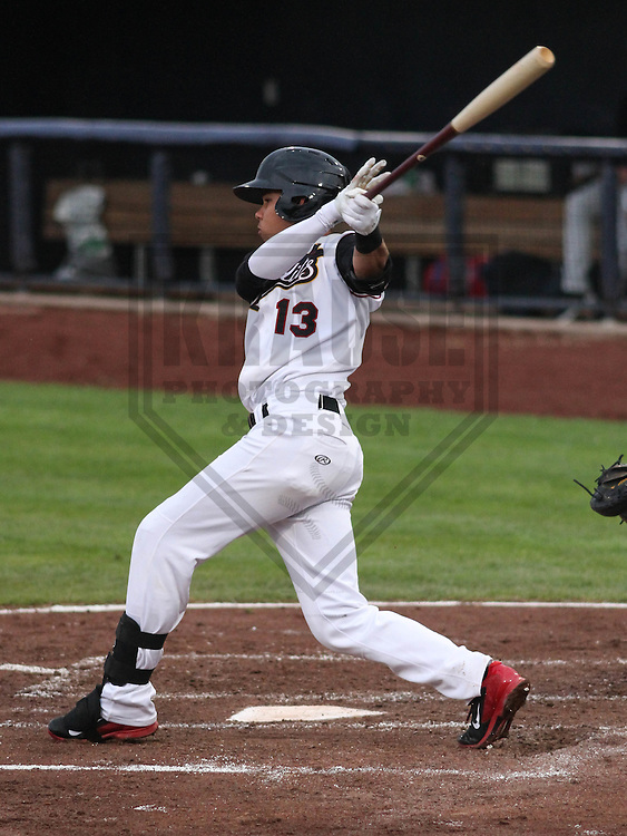 DAVENPORT - May 2015: Quad Cities River Bandits infielder Kristian Trompiz (13) during a Midwest League game against the Wisconsin Timber Rattlers on May 8th, 2015 at Modern Woodmen Park in Davenport, Iowa.  Quad Cities defeated Wisconsin 11-6.  (Brad Krause/Krause Sports Photography)