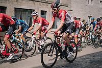 eventual winner Jasper Stuyven (BEL/Trek-Segafredo) in the peloton riding over the town's pav&eacute;d main road<br /> <br /> 59th Grand Prix de Wallonie 2018 <br /> 1 Day Race from Blegny to Citadelle de Namur (BEL / 206km)