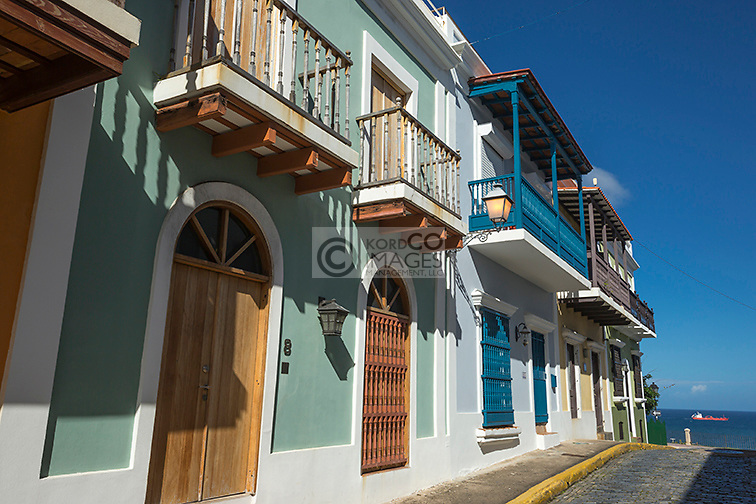 COLORFUL PAINTED BUILDINGS CALLE SAN JUSTO OLD SAN JUAN PUERTO RICO