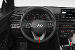 Car pictures of steering wheel view of a 2020 Hyundai Veloster Turbo Ultimate 5 Door Hatchback