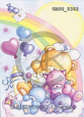 Ron, BABIES, paintings, animals, rainbow(GBSG8382,#B#) bébé, illustrations, pinturas ,everyday