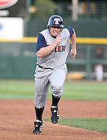 2007:  Chris Shelton of the Toledo Mudhens runs to third base vs. the Rochester Red Wings in International League baseball action.  Photo By Mike Janes/Four Seam Images