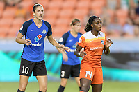 Houston, TX - Sunday August 13, 2017:  Yael Averbuch and  Nichelle Prince during a regular season National Women's Soccer League (NWSL) match between the Houston Dash and FC Kansas City at BBVA Compass Stadium.