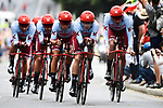 Team Katusha Alpecin in action during Stage 2 of the 2019 Tour de France a Team Time Trial running 27.6km from Bruxelles Palais Royal to Brussel Atomium, Belgium. 7th July 2019.<br /> Picture: ASO/Pauline Ballet | Cyclefile<br /> All photos usage must carry mandatory copyright credit (© Cyclefile | ASO/Pauline Ballet)