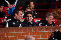 Saturday 11 January 2014 Pictured: Michael Laudrup, Manager of Swansea City <br /> Re: Barclays Premier League Manchester Utd v Swansea City FC  at Old Trafford, Manchester