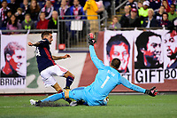 September 9, 2017 - Foxborough, Mass: Montreal Impact goalkeeper Evan Bush (1) protects the net from New England Revolution forward Diego Fagundez (14) during the MLS game between the Montreal Impact and the New England Revolution held at Gillette Stadium in Foxborough Massachusetts. Revolution defeat Impact 1-0. Eric Canha/CSM