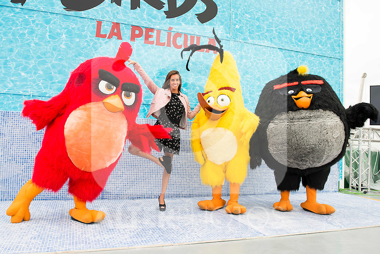 "Spanish synchronized swimming Ona Carbonell during the presentation of the film ""Angry Birds"" at the Flat Roof of Torre Picasso in Madrid. April 29,2016. (ALTERPHOTOS/Borja B.Hojas)"