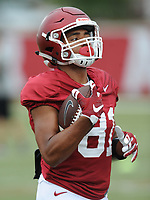 NWA Democrat-Gazette/ANDY SHUPE<br /> Arkansas receiver Jarrod Barnes makes a catch Tuesday, Aug. 1, 2017, during practice at the university's practice field in Fayetteville. Visit nwadg.com/photos to see more photographs from the day's practice.