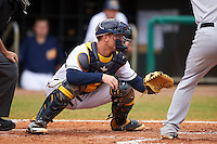 Montgomery Biscuits catcher Justin O'Conner (5) waits for a pitch during a game against the Jackson Generals on April 29, 2015 at Riverwalk Stadium in Montgomery, Alabama.  Jackson defeated Montgomery 4-3.  (Mike Janes/Four Seam Images)