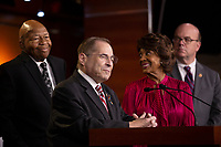 House Oversight and Government Reform Committee Chairman Elijah Cummings (Democrat of Marylan), House Judiciary Committee Chairman Jerrold Nadler (Democrat of New York), Financial Services Committee Chairwoman Maxine Waters (Democrat of California), and Rules Committee Chairman Jim McGovern (Democrat of Massachusetts)  attend a press conference on Capitol Hill in Washington D.C., U.S. on June 11, 2019.  The press conference followed a House vote, where lawmakers passed a bill which allows the House Judiciary Committee to call on Federal judges to enforce Congressional subpoenas. Photo Credit: Stefani Reynolds/CNP/AdMedia