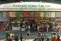 People inside the Jean Talon public market or Marche Jean Talon, Montreal, Quebec, Canada