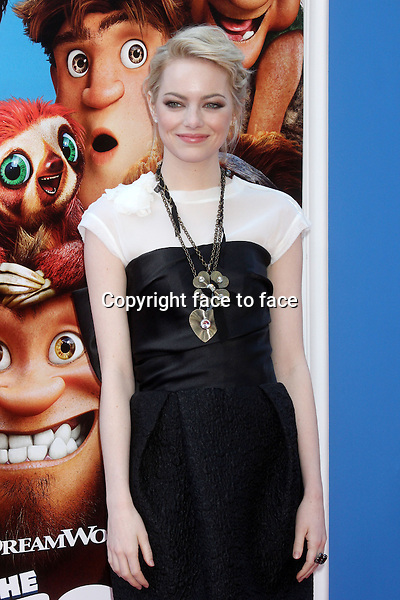 "Emma Stone (in Lanvin) attends the premiere of ""The Croods"" at AMC Loews Lincoln Square in New York, 10.03.2013...Credit: Rolf Mueller/face to face"