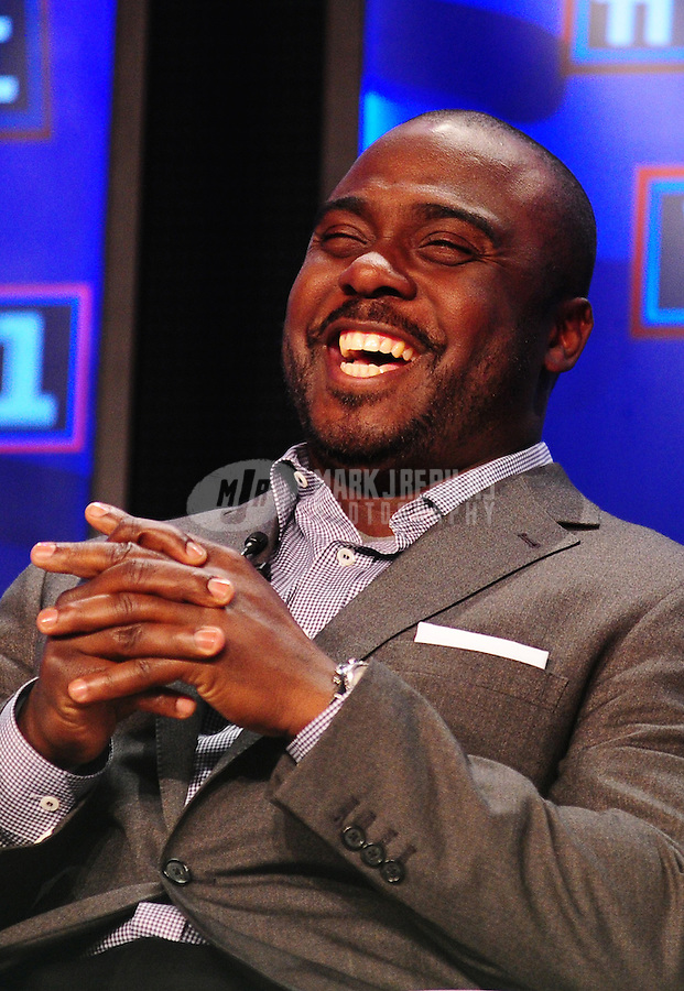 February 5, 2011; Dallas, TX, USA; Marshall Faulk smiles during a press conference after being named into the NFL Hall of Fame class of 2011 at the Super Bowl XLV media center. Mandatory Credit: Mark J. Rebilas-