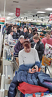 BNPS.co.uk (01202 558833)<br /> Pic: BNPS<br /> <br /> Shoppers  were in massive queues today at Tesco in Salisbury amid the global Coronavirus outbreak.