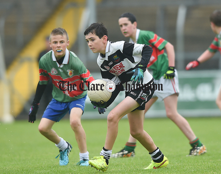 Noel Copley of Clarecastle during the U-12 football finals in Cusack park. Photograph by John Kelly.