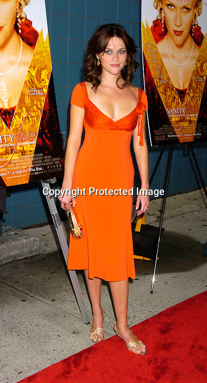 "Reese Witherspoon..at The New York Screening of ""Vanity Fair"" starring ..Reese Witherspoon, Romola Garai and James Purefoy ..at the Clearview Chelsea West on August 16, 2004...Photo by Robin Platzer, Twin Images"