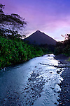 Arenal River And The Arenal Volcano At Dawn In Costa Rica