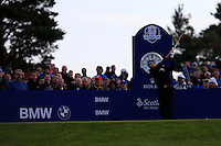 Jordan Spieth (USA) on the 4th tee during the Saturday Fourball Matches of the Ryder Cup at Gleneagles Golf Club on Saturday 27th September 2014.<br /> Picture:  Thos Caffrey / www.golffile.ie