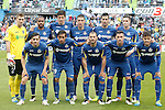 Getafe's team photo with Vicente Guaita, Alvaro Pereira, Santiago Vergini, Stefan Scepovic, Juan Rodriguez, Carlos Vigaray, Pablo Sarabia, Damian Suarez, Mehdi Lacen, Alvaro Vazquez and Pedro Leon during La Liga match. April 16,2016. (ALTERPHOTOS/Acero)