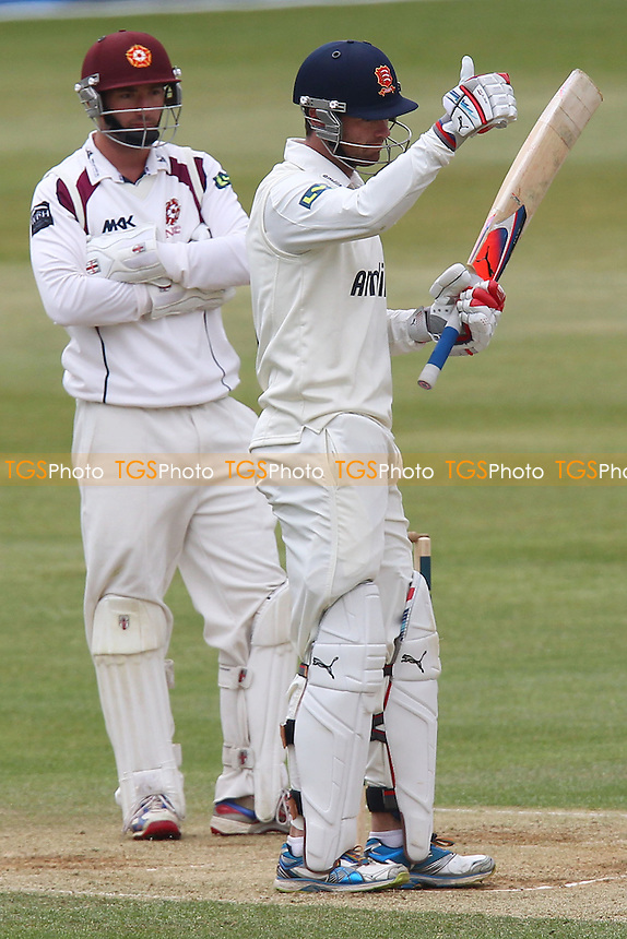 Bobby Quiney of Essex gives the thumbs up to acknowledge a half-century - Northamptonshire CCC vs Essex CCC - LV County Championship Division Two Cricket at the County Ground, Northampton - 19/04/13 - MANDATORY CREDIT: Gavin Ellis/TGSPHOTO - Self billing applies where appropriate - 0845 094 6026 - contact@tgsphoto.co.uk - NO UNPAID USE.