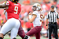 College Park, MD - SEPT 22, 2018: Minnesota Golden Gophers quarterback Zack Annexstad (5) looks to pass the ball down field during game between Maryland and Minnesota at Capital One Field at Maryland Stadium in College Park, MD. The Terrapins defeated the Golden Bears 42-13 to move to 3-1 on the season. (Photo by Phil Peters/Media Images International)