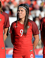 20171024 - PENAFIEL , PORTUGAL :  Portugese Ana Borges pictured during a women's soccer game between Portugal and the Belgian Red Flames , on tuesday 24 October 2017 at Estádio Municipal 25 de Abril in Penafiel. This is the third game for the  Red Flames during the Worldcup 2019 France qualification in group 6. PHOTO SPORTPIX.BE | DAVID CATRY