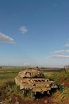 The Golan Heights. An old Centurion tank in Tel Saki, site of a fierce battle in the Yom Kippur war